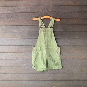 Green Distressed Denim Overalls